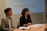 Fatma Uzun links und Sandra Vacca rechts während der Pressekonferenz